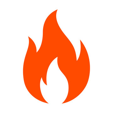 Red hot fire / flame heat or spicy food symbol flat vector icon for apps and websites