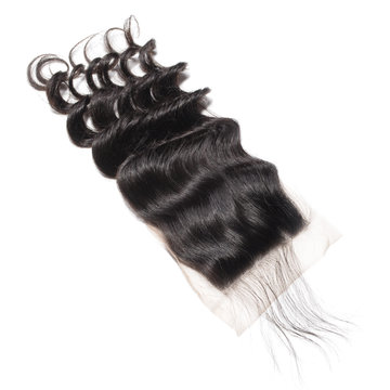 Loose wavy black human hair weaves extensions lace closure
