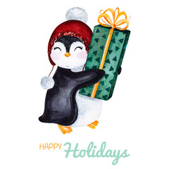 Cute watercolor penguin with Christmas gift.Hand painted holiday illustration.Perfect for your Christmas and New Year project,invitations,greeting cards,wallpapers,blogs etc