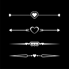 Collection of vector dividers with hearts on dark background