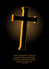 A golden Crucifix with a halftone screen effect in the back symbolizing the light.