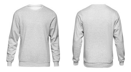 Blank template mens grey sweatshirt long sleeve, front and back view, isolated on white background with clipping path. Design gray pullover mockup for print