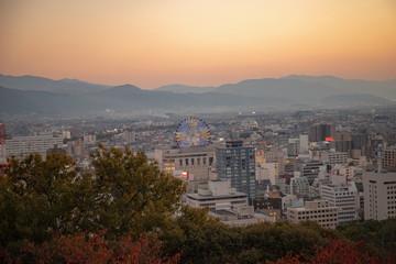 Cityscape of Matsuyama city in the evening ,Shikoku,Japan