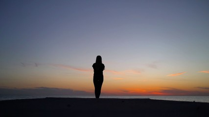 Beautiful girl on the sunset background. Girl at sunset by the sea.