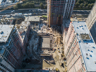 Aerial top view of construction site