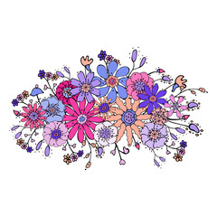 Floral decorative element with hand-drawn colorful stylized pink, blue, violet, orange flowers and brunches. doodles. Bouquet of flowers for your design