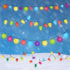 christmas lights background and snow