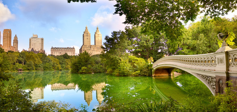 Central Park panorama with Bow Bridge, New York City