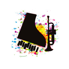 Music festival poster with piano and trumpet flat vector illustration design. Music background with music instruments, live concert events, party flyer, brochure, promotion banner