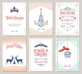 Elegant vertical winter holidays greeting cards with New Year tree, doves, reindeers, Christmas ornaments and ornate typographic design.