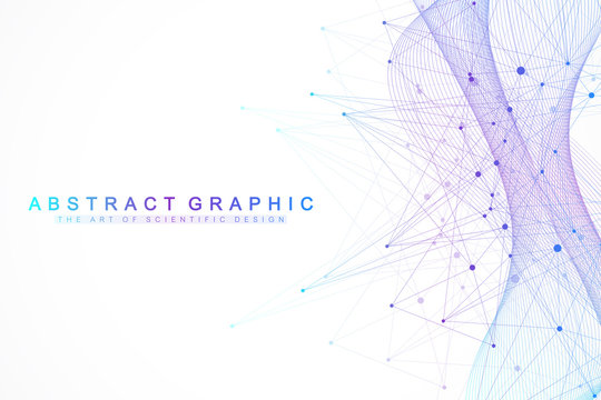 Technology abstract background with connected line and dots. Big data visualization. Artificial Intelligence and Machine Learning Concept Background. Analytical networks. Vector illustration.