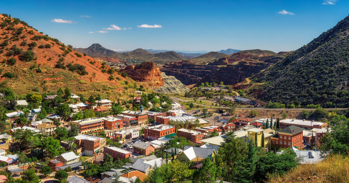 Panorama of Bisbee and Mule Mountains in Arizona