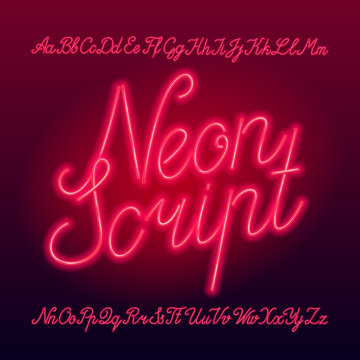 Neon script alphabet font. Neon color lowercase and uppercase letters, numbers and symbols. Stock vector typescript for your typography design.