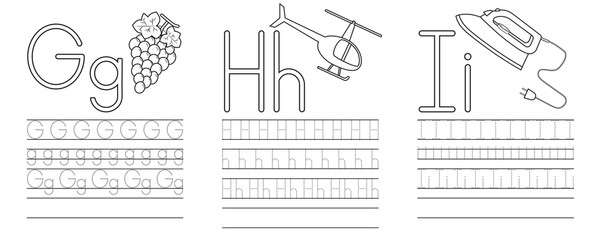 Writing practice of letters G,H,I. Coloring book. Education for children. Vector illustration Fototapete