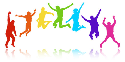 People in a jump, youth celebrating. Cheerful group of people, semicircle in the form of a rainbow. Colorful vector silhouette