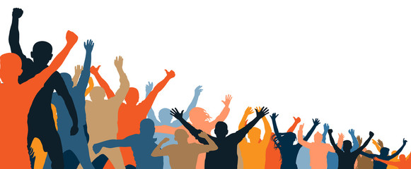 Cheerful people crowd applauding, silhouette. Party, applause. Different events. Fans dance concert, disco