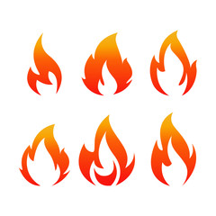 Isolated fire set. Flame vector set