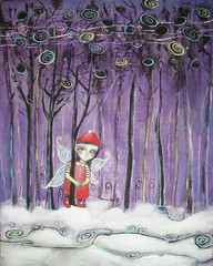 Elf in red clothes between the snowy trees. New Year's illustration.