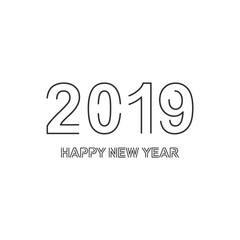 Vector illustration of Happy New Year 2019.