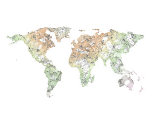 Abstract polygon 3d render world map isolated on white background
