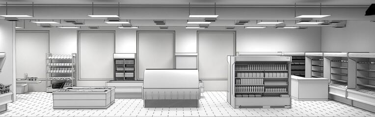 shop, grocery store, interior visualization, 3D illustration