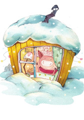 Winter evening in a cozy warm little pig house