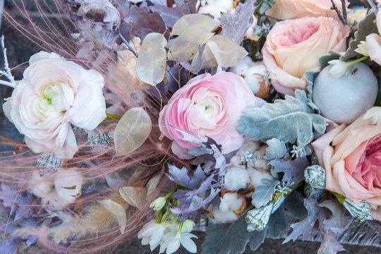 Pink peony and rose in beautiful bouquet close up. Floral, flowers background