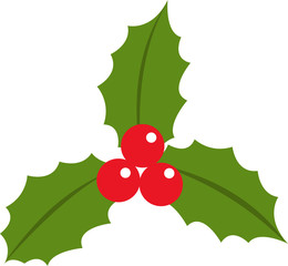 Holly berry leaves christmas icon flat vector illustration isolated on white