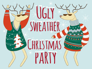 Ugly sweather christmas party illustration, Christmas sweater