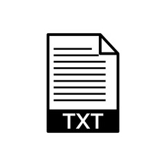 Vector image of a flattened black text icon TXT document format, on an isolated white background. Text format of the document