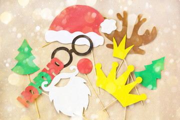 Photo booth colorful props for christmas party mustache, santa claus, fir tree, glasses, crown, antler, nose, hat
