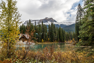 Emerald Lake shows off it's colour in late fall, Yoho National Park, British Columbia, Canada