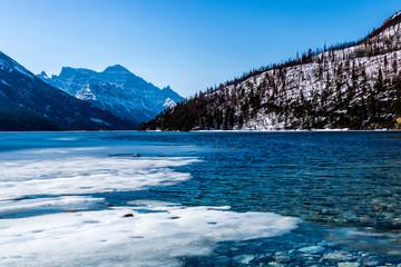 Winter still has a slight hold on the Upper Waterton Lake, Waterton Lakes National Park, Alberta, Canada
