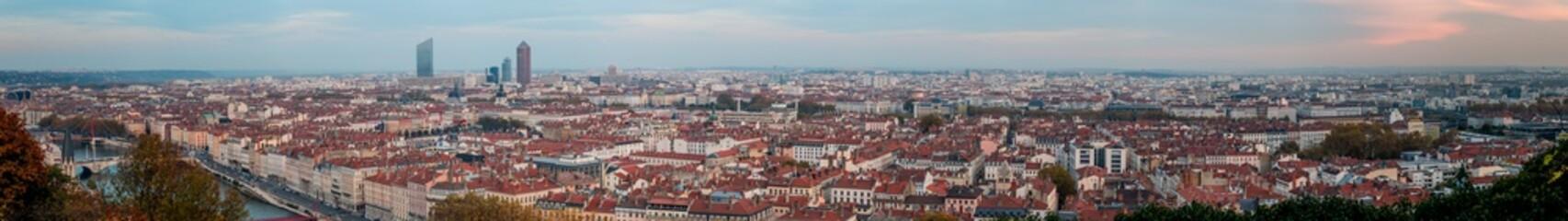 Foto op Canvas Panorama de Lyon vu depuis la Mulatière