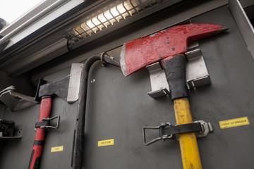 fire axe in the fire truck