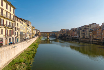 Houses in Florence near Ponte Vecchio in October 2018.