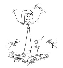 Cartoon stick drawing conceptual illustration of woman on stage to who was given standing ovation and flowers are thrown from audience. Metaphor of success.