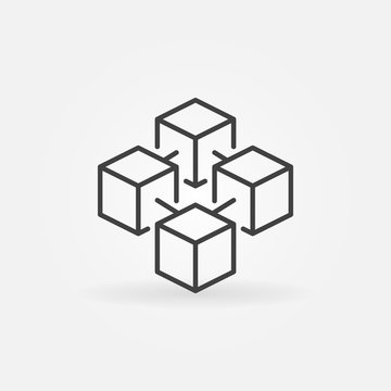 Blockchain cube vector concept icon or logo element in thin line style