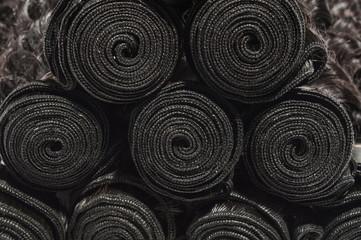 Fototapeta Deep wave curly black human hair weaves extensions bundle obraz