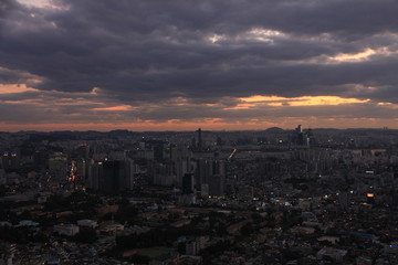 Sunset View of Seoul's Skyline in South Korea