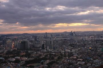 Foto op Canvas Las Vegas Sunset View of Seoul's Skyline in South Korea
