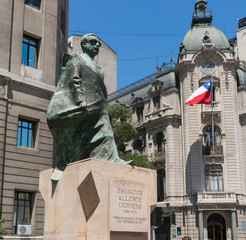 Monument to Chilean statesman and political figure. Salvador Allende in Santiago de Chile