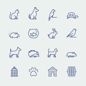 Pets related icon set in thin line style