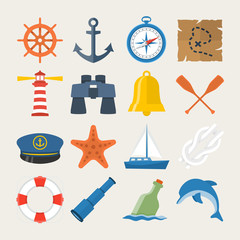 Nautical icon set in flat style