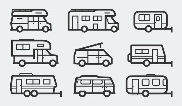 Recreational vehicles camper vans icons