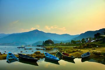 Sunrise at Phewa lake in Pokhara city, Nepal.
