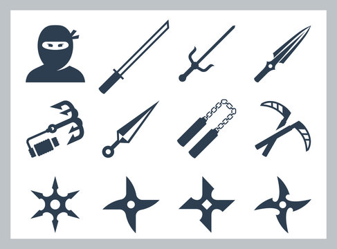 Ninja and ninja weapons vector icon set