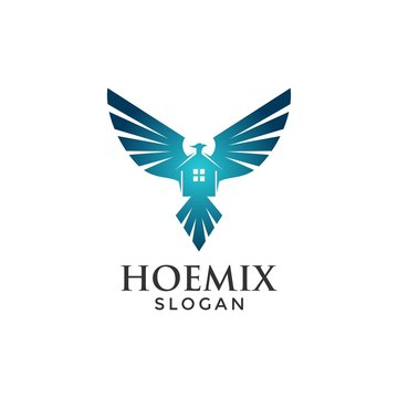 Phoenix house concept for logo icon template