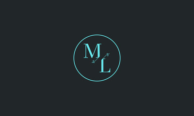 LETTER M AND L FLOWER LOGO WITH CIRCLE FRAME FOR LOGO DESIGN OR ILLUSTRATION USE