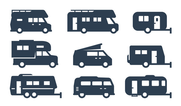 RV cars, recreational vehicles, camper vans icons